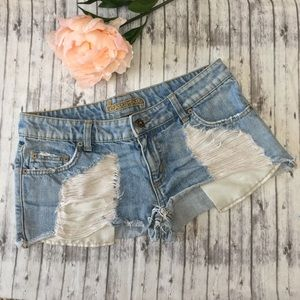 LF Stores Destroyed Frayed Jean Shorts Size 27